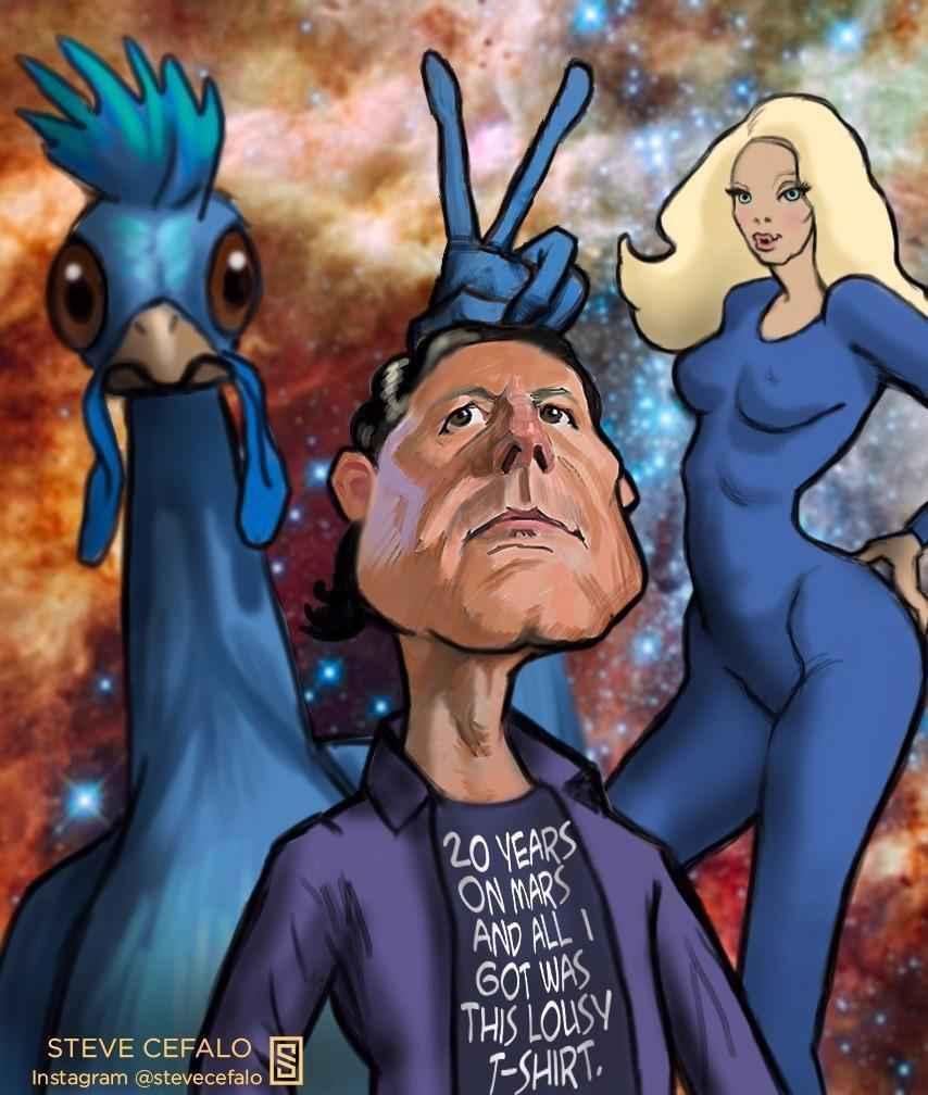 Blue Chicken Cult Cartoon
