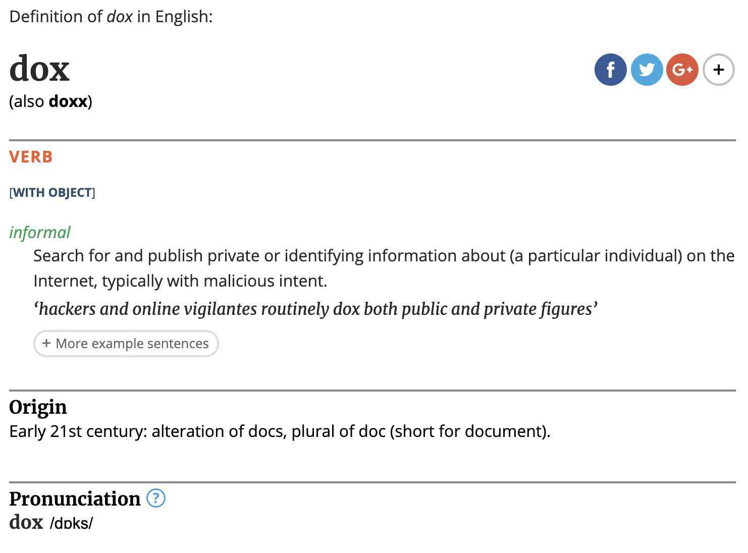 Doxxing Definition